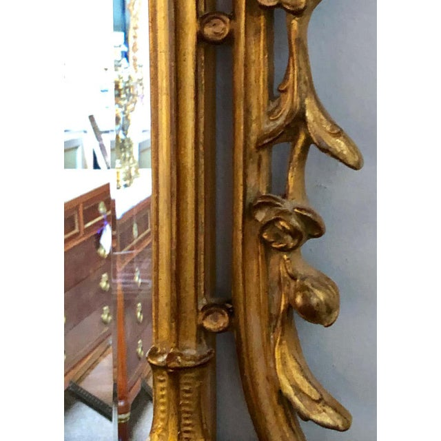 Pair of Louis XV Style Gilt Wall Console or Pier Mirrors With Beveled Glass For Sale - Image 9 of 12