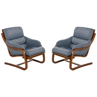 Danish Bent Teak Cantilever Lounge Chair Set by Stouby Polster, Fully Restored For Sale