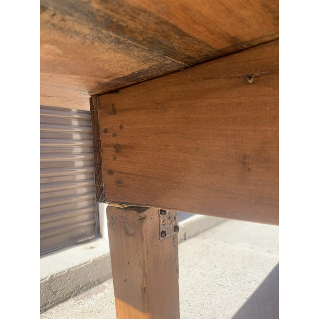 Brown 1960s Rustic Custom Built Barnwood PlankTop Dining Table For Sale - Image 8 of 13