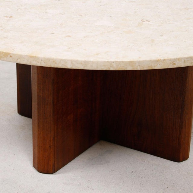 """Travertine Marble Top Coffee Table with """"X"""" Base - Image 9 of 9"""