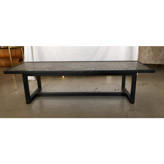 Contemporary Coffee Table With Etched Metal Inlay and Ebonized Wood Frame For Sale - Image 9 of 12