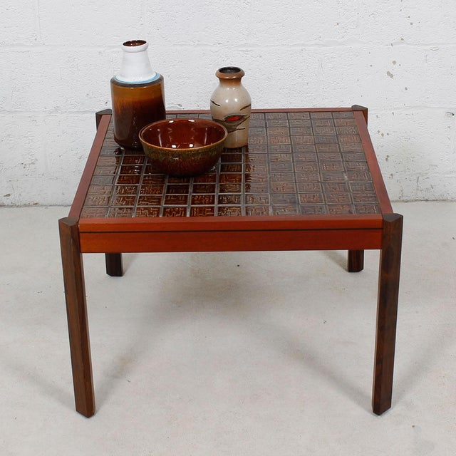 Wood Danish Modern Accent Table with Tile Top For Sale - Image 7 of 8