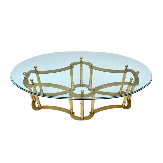 Mastercraft Mastercraft Brass Coffee Table with Oval Glass Top For Sale - Image 4 of 10