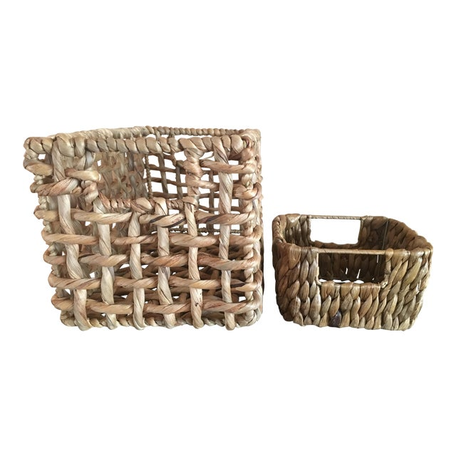 Woven Sea Grass Baskets - Pair - Image 1 of 8