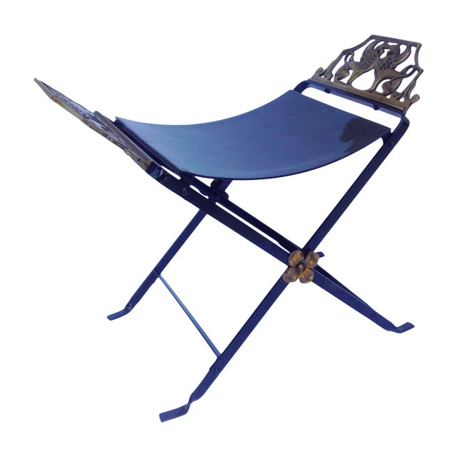 1920s Neoclassical Iron X-Frame Gryphons Bench - Image 1 of 10