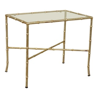 Hollywood Regency 1960's Silver Gilt Metal Faux Bamboo Glass Top Side Table For Sale