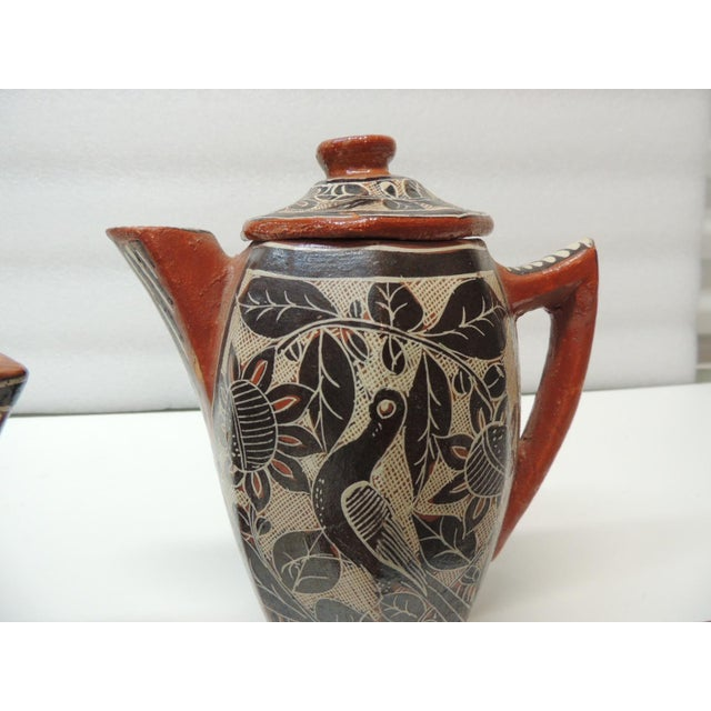 Mexican Vintage Brown and Orange Talavera Mexican Terracotta Artisanal Coffee Set For Sale - Image 3 of 7