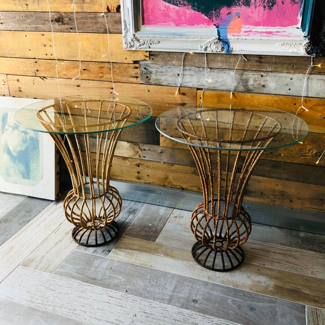 White Mid-Century Wrought Iron End Tables - A Pair For Sale - Image 8 of 9