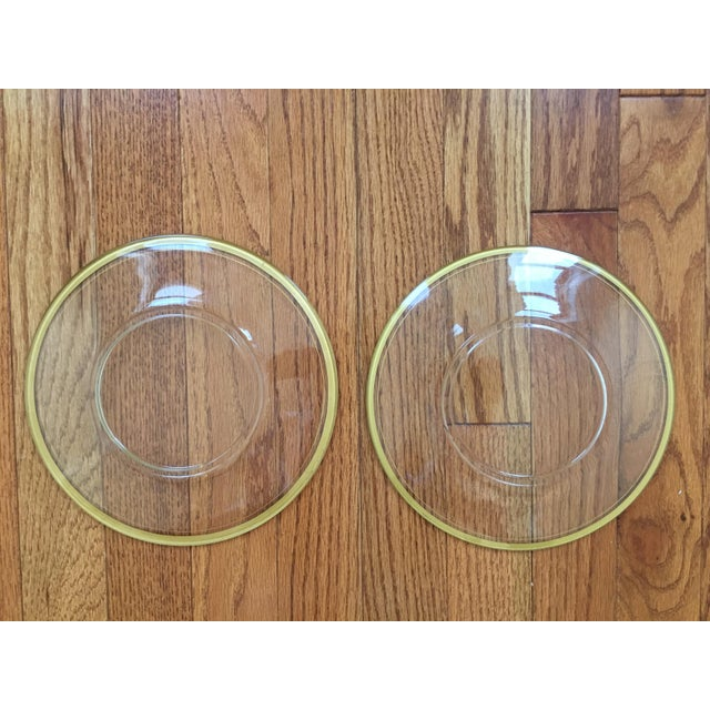 Glass Gold Rimmed Plates - A Pair - Image 3 of 6