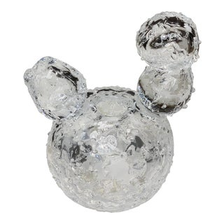 Scandinavian Blown Ice Glass Snowball Figurative Teapot For Sale