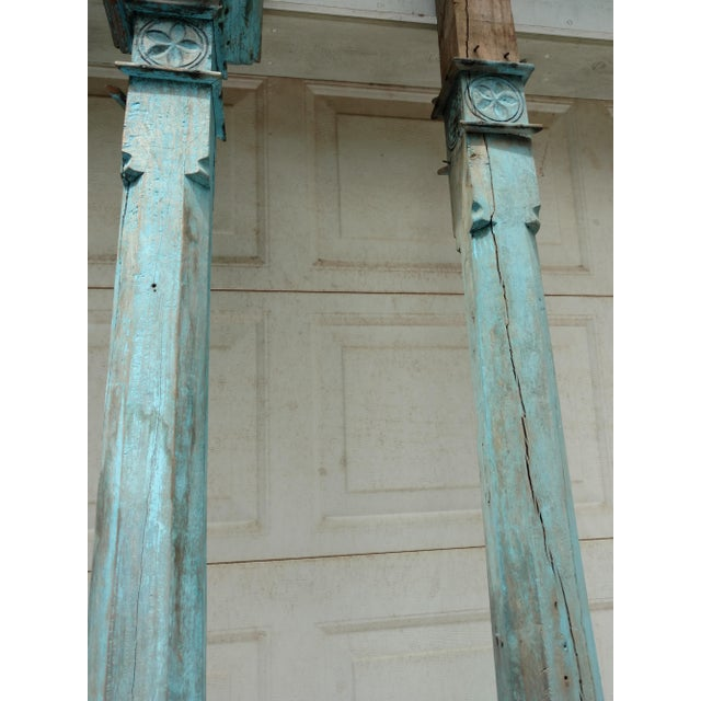 Antique Blue Ceylonese Temple Pillars - a Pair For Sale - Image 4 of 13