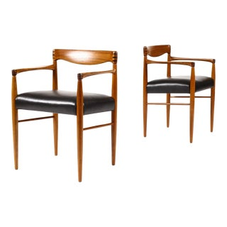 Mid Century h.w. Klein for Bramin Teak Arm Captains Chairs- A Pair For Sale