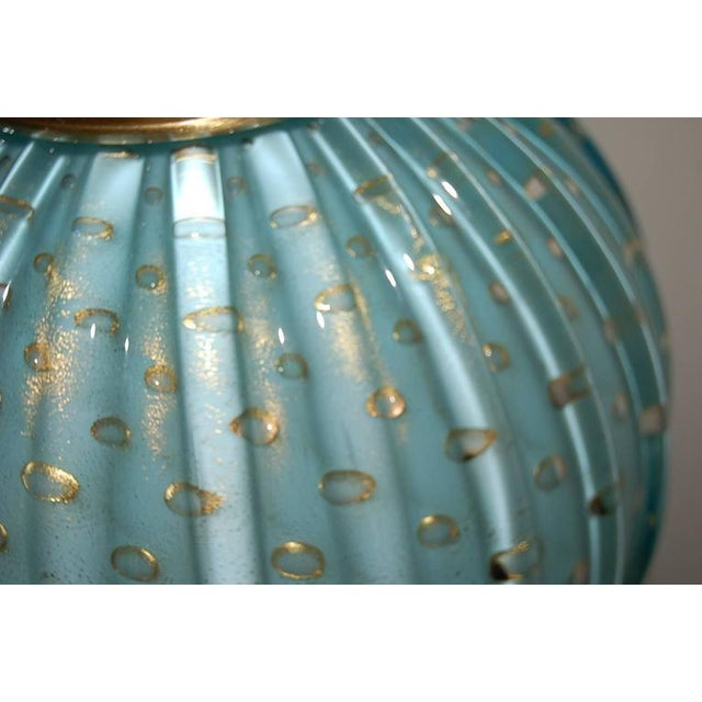 Gold Murano Glass Stacked Ball Table Lamps Blue For Sale - Image 8 of 10
