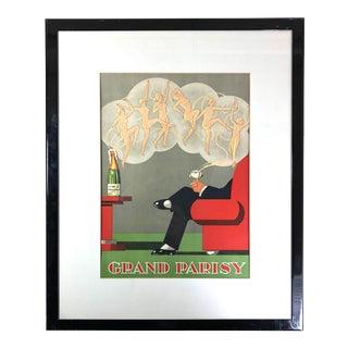 Contemporary Art Deco Style Grand Parisy Champagne Print For Sale