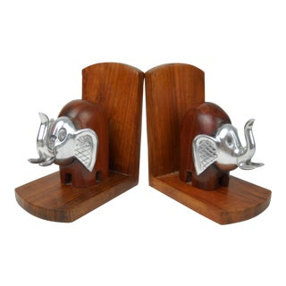 Wood and Metal Elephant Bookends, Pair For Sale