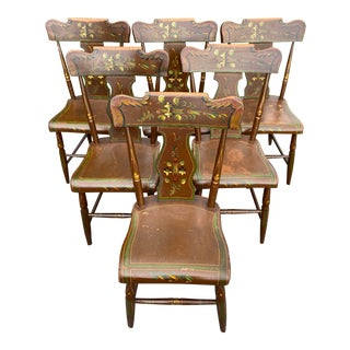 C. 1860s Pennsylvania Paint Decorated Plank Seat Chairs - Set of 6 For Sale