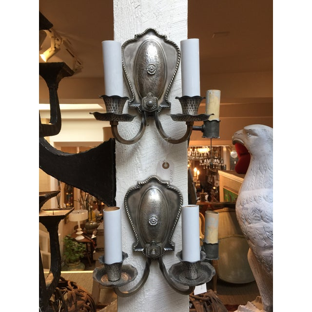 Silver Hammered Aluminum Sconces - A Pair For Sale - Image 8 of 8