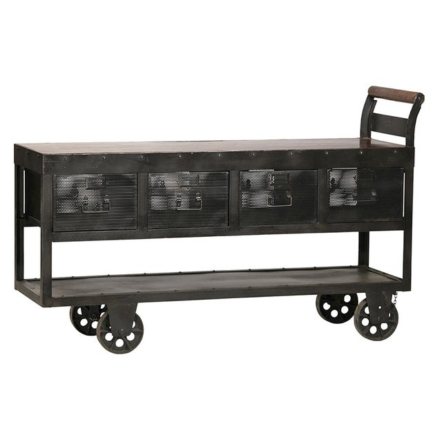 Industrial Industrial Iron Trolley Console For Sale - Image 3 of 3