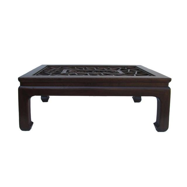 Chinese Recetangular Carved Panel Glass Coffee Tab - Image 4 of 5