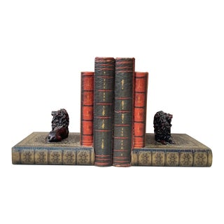 1930s Vintage French Papier Mâché Books Ends-a Pair For Sale