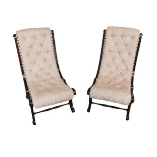 Antique Victorian Pair of Petite Tufted Slipper Chairs For Sale