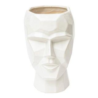 White Ceramic Cubist Planter For Sale