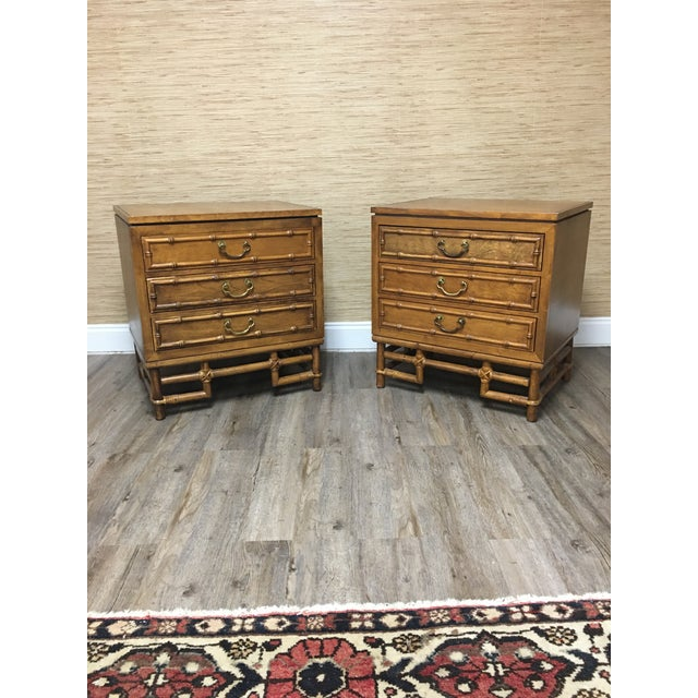 Ficks Reed Ficks Reed Faux Bamboo Nightstands-A Pair - Solid Hardwood Construction For Sale - Image 4 of 9