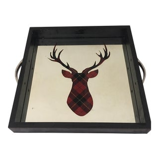 Tartan Deer Mirrored Serving Tray