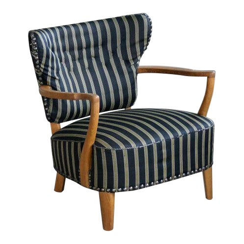 Otto Schulz Style Lounge Chair in Oak with Brass Tacks Danish Mid-Century For Sale