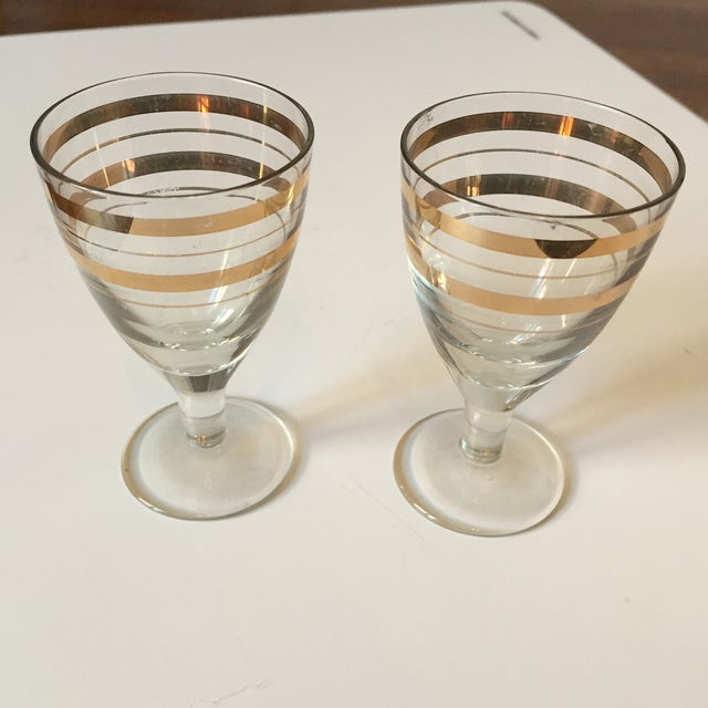 Vintage Gold Stripped Shot Glasses- A Pair - Image 2 of 5