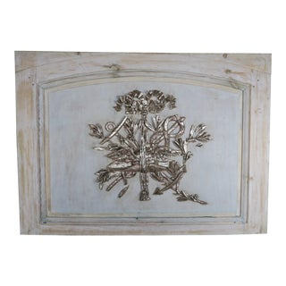 19th Century French Carved Painted & Silver Gilt Panel For Sale
