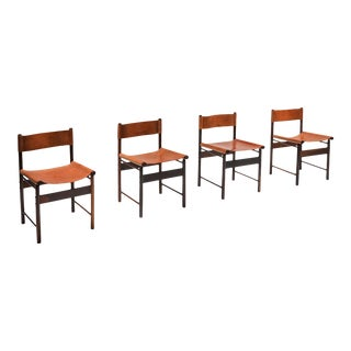 1950s Zalszupin Jacaranda Dining Chairs With Cognac Saddle Leather Seating - Set of 4 For Sale