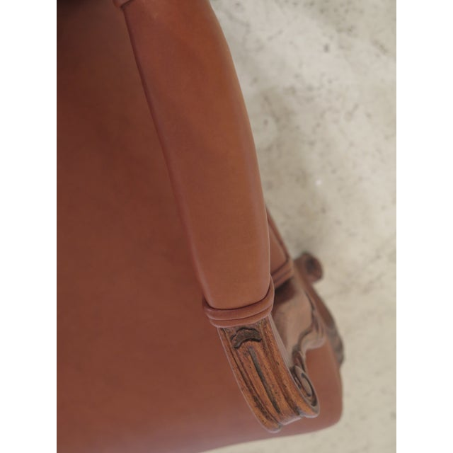 French 1990s Vintage Ethan Allen French Louis XV Style Leather Arm Chair For Sale - Image 3 of 10