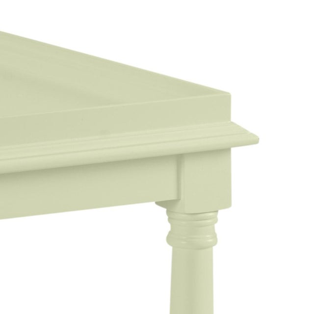 This acacia wood side table features a single shelf and turned legs. The color is Benjamin Moore Guilford Green with a...