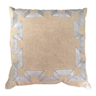 Dransfield and Ross Greek Key Silver Metallic & Flax Pillow