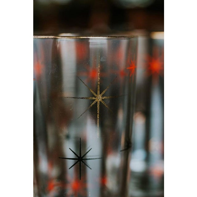 Mid 20th Century Mid-Century Modern Starburst Drinking Glasses-Set of 4 For Sale - Image 5 of 7