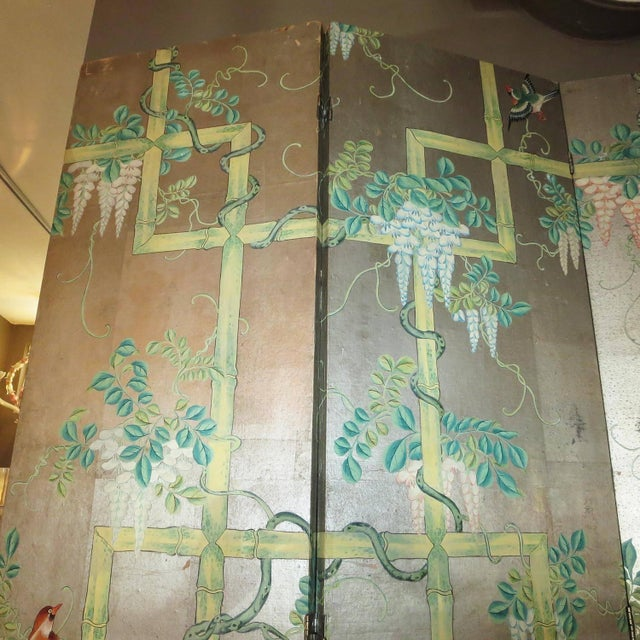 19th Century Four-Panel Painted Screen of Birds and Bamboo For Sale - Image 4 of 9