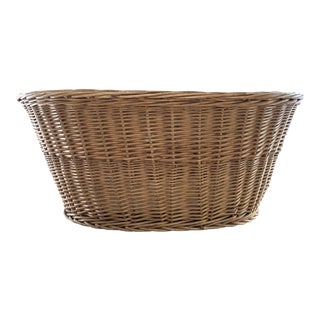Vintage French Willow Wicker Basket For Sale