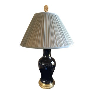 19th Century Antique Black Porcelain Table Lamp For Sale