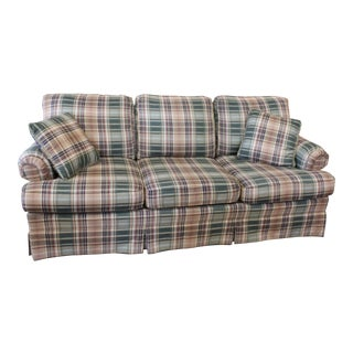 Vintage Mid Century Plaid Sofa For Sale