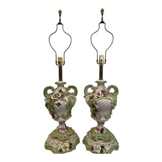 Mid 20th Century Italian Floral Lamps - a Pair For Sale