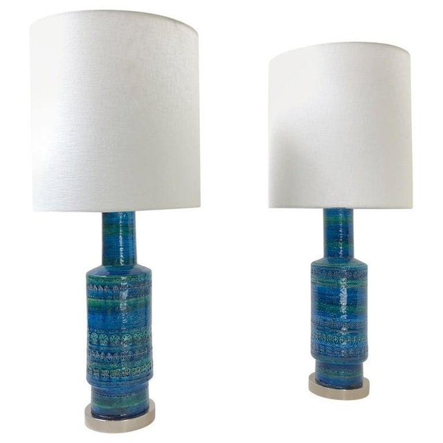 Rare Pair of Rimini Blue Italian Ceramic and Nickel Table Lamps by Bitossi For Sale - Image 11 of 11