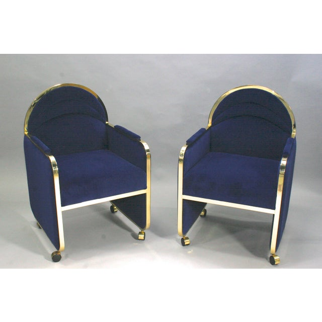 Pair Design Institute of America Brass and Blue Velvet Club Chairs For Sale In Detroit - Image 6 of 6