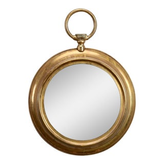 Mid-Century French Brass Wall Mirror in the Shape of a Pocket Watch
