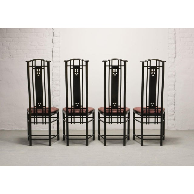 1980s Mid-Century Italian Design Black Lacquered and Pink Fabric Dining Chairs by Giorgetti, 1970s - 1980s. For Sale - Image 5 of 13
