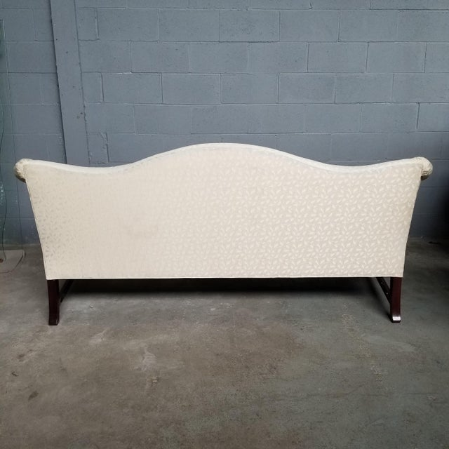 1960s Hickory Chair Co Historic James River Collection Carved Chippendale Camelback Sofa For Sale - Image 5 of 13