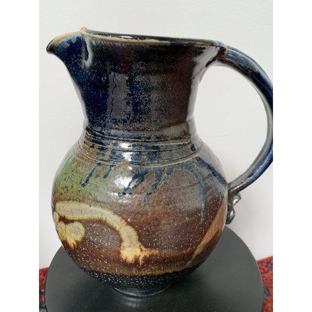 Large Vintage Mid Century Modern Glazed Ceramic Pitcher For Sale - Image 4 of 5