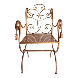 Mid Century Vintage Regency Gilded Metal Rope and Tassel Metal chair For Sale