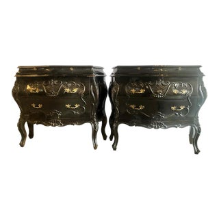 Bombay Ebonized Nightstands or End Tables Louis XV Style - a Pair For Sale
