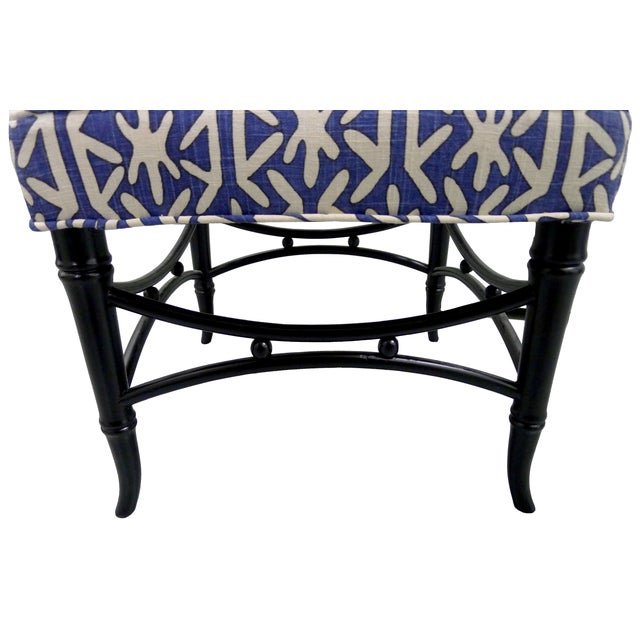 Black Faux-Bamboo & Blue Upholstered Stool For Sale - Image 5 of 5